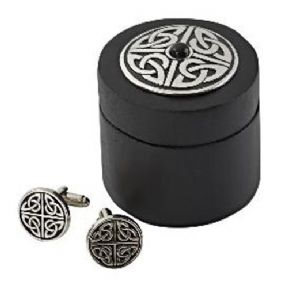 Celtic Knot With Stone Cufflinks With Wooden Box